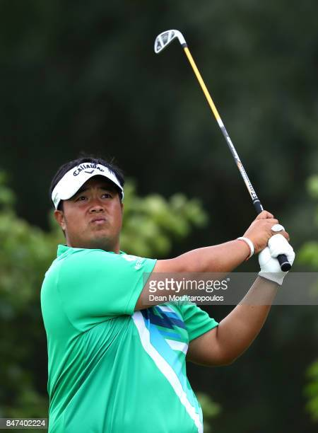 Kiradech Aphibarnrat of Thailand hits his tee shot on the 7th hole during day two of the KLM Open at The Dutch on September 15 2017 in Spijk...