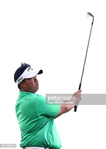 Kiradech Aphibarnrat of Thailand hits his tee shot on the 8th hole during day two of the KLM Open at The Dutch on September 15 2017 in Spijk...