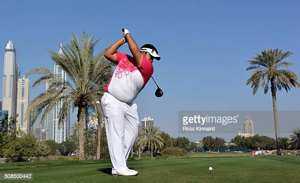 Kiradech Aphibarnrat of Thailand hits his tee shot on the par four 16th hole during the second round of the Omega Dubai Desert Classic on the Majlis...