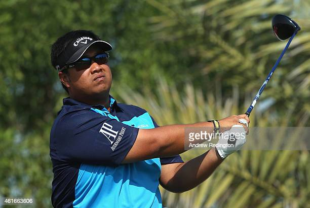 Kiradech Aphibarnrat of Thailand hits his tee shot on the second hole during the third round of the Abu Dhabi HSBC Golf Championship at the Abu Dhabi...