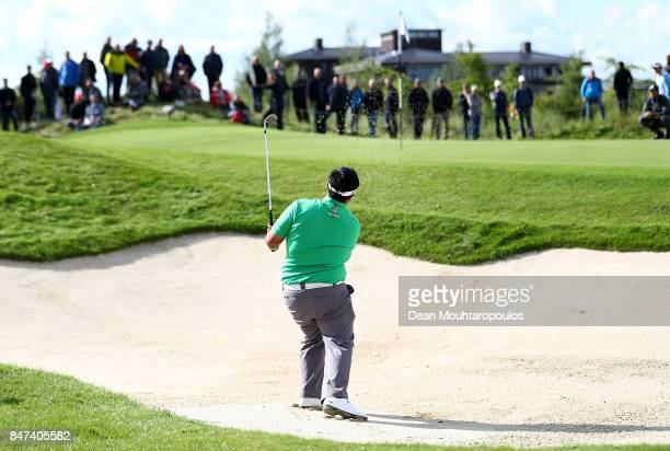 Kiradech Aphibarnrat of Thailand hits his third shot on the 7th hole during day two of the KLM Open at The Dutch on September 15 2017 in Spijk...