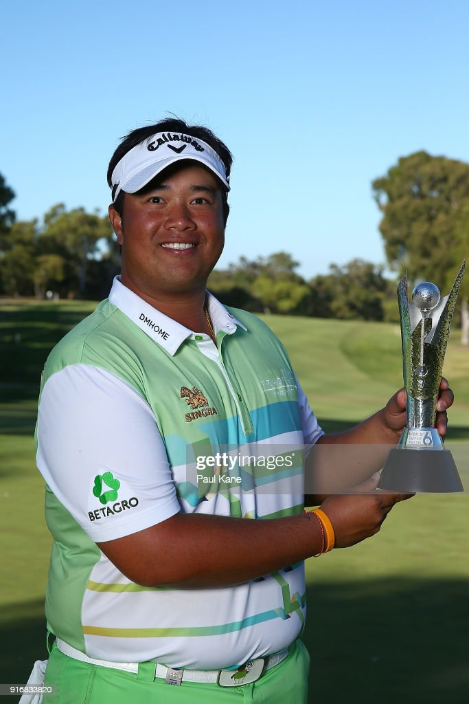 Kiradech Aphibarnrat of Thailand holds the trophy after winning the final match against James Nitties of Australia during day four of the World Super 6 at Lake Karrinyup Country Club on February 11, 2018 in Perth, Australia.
