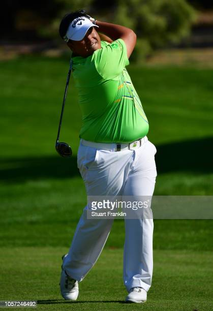 Kiradech Aphibarnrat of Thailand in action during Day Four of the Turkish Airlines Open at Regnum Carya Golf Spa Resort on November 4 2018 in Antalya...