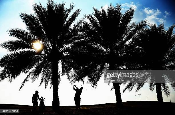 Kiradech Aphibarnrat of Thailand in action during previews for the Abu Dhabi HSBC Golf Championship at Abu Dhabi Golf Club on January 14 2014 in Abu...