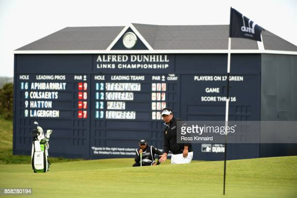 Kiradech Aphibarnrat of Thailand lines up his put on the 17th during day two of the 2017 Alfred Dunhill Championship at The Old Course on October 6...