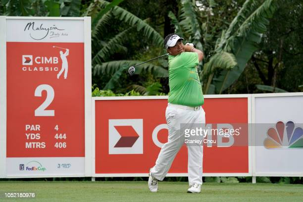Kiradech Aphibarnrat of Thailand pays during the final round of the CIMB Classic at TPC Kuala Lumpur on October 14 2018 in Kuala Lumpur Malaysia