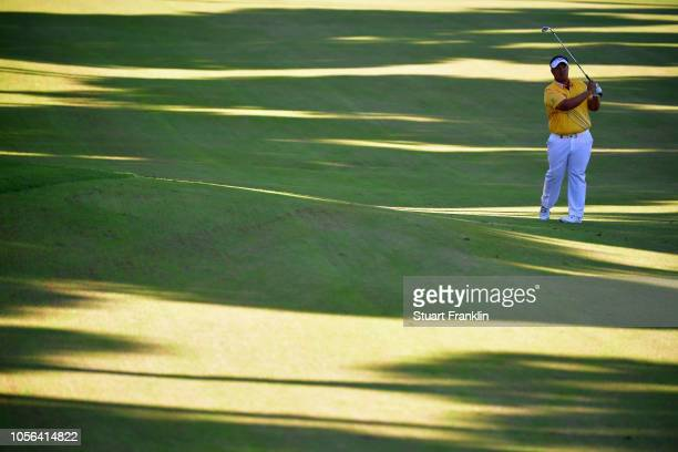 Kiradech Aphibarnrat of Thailand plays a shot during Day Two of the Turkish Airlines Open at the Regnum Carya Golf Spa Resort on November 2 2018 in...