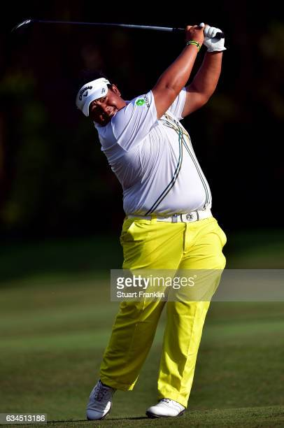 Kiradech Aphibarnrat of Thailand plays a shot during Day Two of the Maybank Championship Malaysia at Saujana Golf Club on February 10 2017 in Kuala...