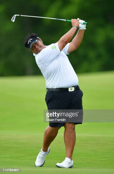 Kiradech Aphibarnrat of Thailand plays a shot during practice prior to the start of the ATT Byron Nelson on May 07 2019 in Irving Texas