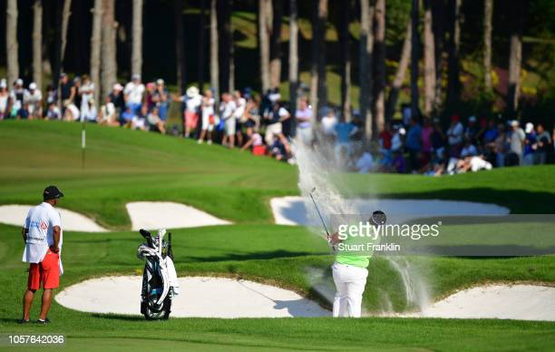 Kiradech Aphibarnrat of Thailand plays a shot during the final day of The Turkish Airlaines golf on November 4 2018 in Antalya Turkey