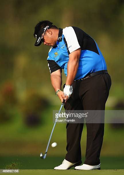 Kiradech Aphibarnrat of Thailand plays a shot during the first round of the Shenzhen International at Genzon Golf Club on April 16 2015 in Shenzhen...