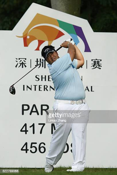 Kiradech Aphibarnrat of Thailand plays a shot during the first round of the Shenzhen International at Genzon Golf Club on April 21 2016 in Shenzhen...