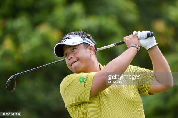Kiradech Aphibarnrat of Thailand plays a shot during the third round of CIMB Classic golf tournament in Kuala Lumpur Malaysia on October 13 2018