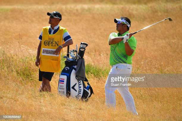 Kiradech Aphibarnrat of Thailand plays a shot on the 15th hole during the final round of the 147th Open Championship at Carnoustie Golf Club on July...