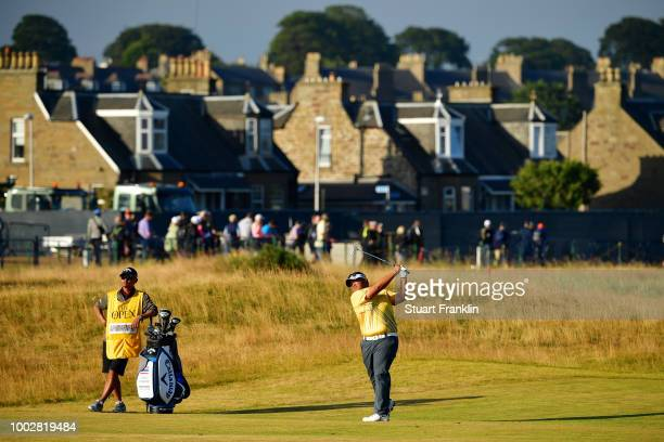 Kiradech Aphibarnrat of Thailand plays a shot on the 17th hole during the second round of the 147th Open Championship at Carnoustie Golf Club on July...