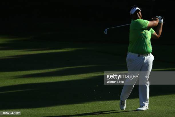 Kiradech Aphibarnrat of Thailand plays his second shot on the 12th hole during Day Four of the Turkish Airlines Open at Regnum Carya Golf Spa Resort...