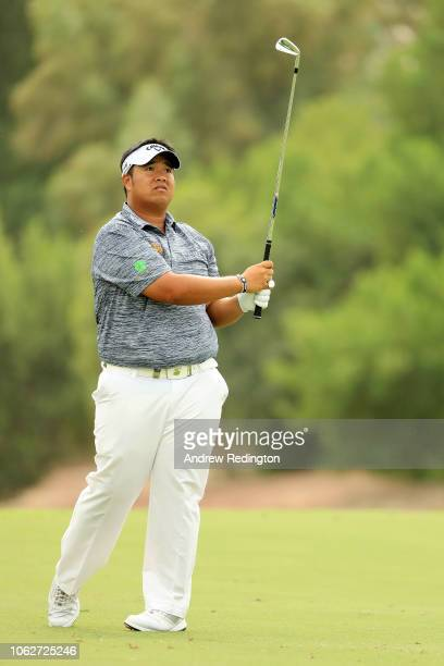 Kiradech Aphibarnrat of Thailand plays his second shot on the 3rd hole during day three of the DP World Tour Championship at Jumeirah Golf Estates on...