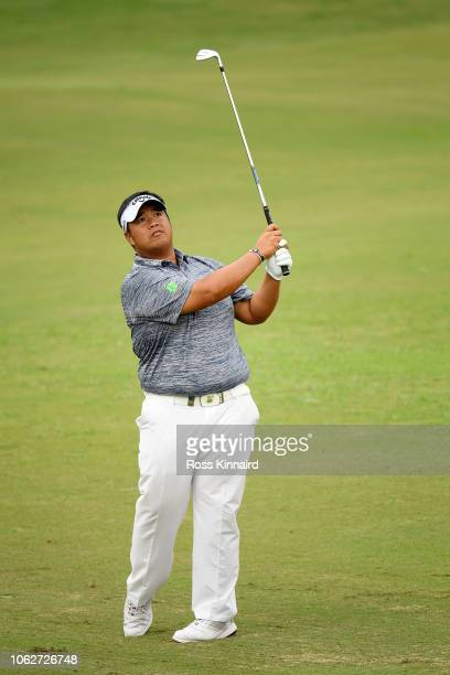 Kiradech Aphibarnrat of Thailand plays his second shot on the 5th hole during day three of the DP World Tour Championship at Jumeirah Golf Estates on...