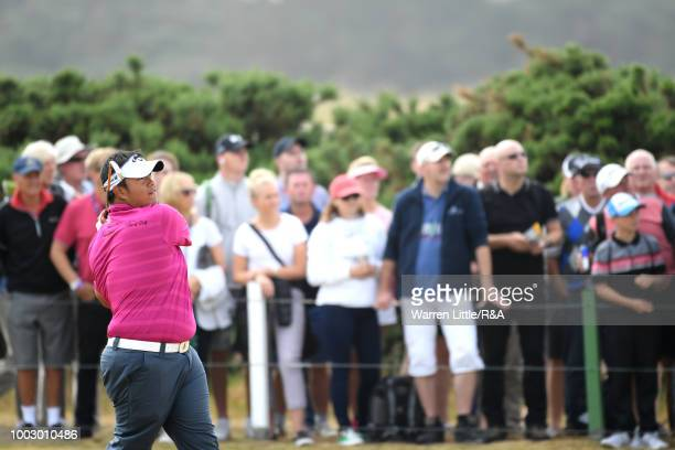 Kiradech Aphibarnrat of Thailand plays his second shot on the 6th hole during round three of the Open Championship at Carnoustie Golf Club on July 21...