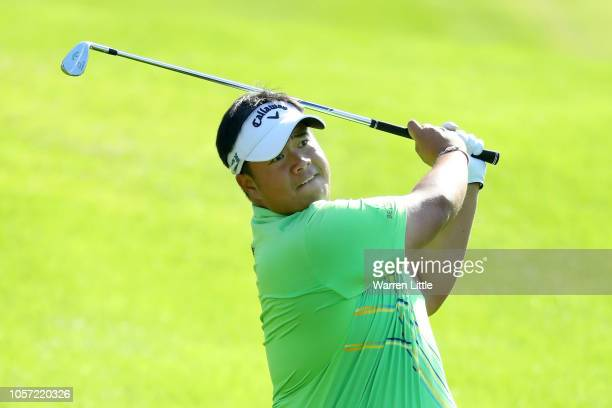 Kiradech Aphibarnrat of Thailand plays his second shot on the first hole during Day Four of the Turkish Airlines Open at Regnum Carya Golf Spa Resort...