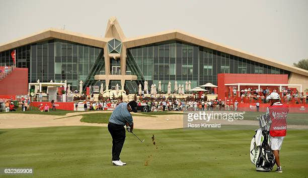 Kiradech Aphibarnrat of Thailand plays his second shot on the par four 10th hole during the final round of the Abu Dhabi HSBC Championship at Abu...