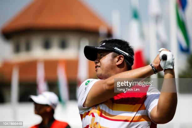Kiradech Aphibarnrat of Thailand plays his shot during a practice round prior to the start of the CIMB Classic at TPC Kuala Lumpur on October 9 2018...