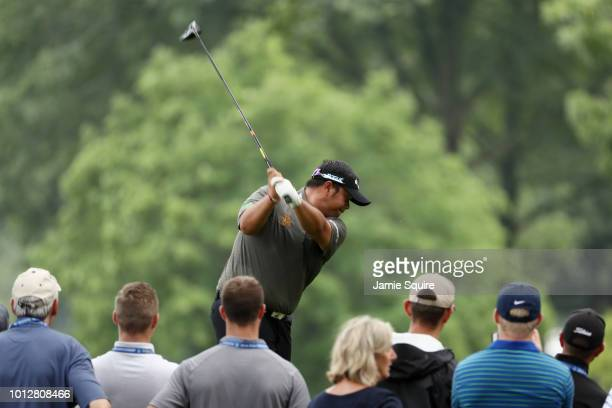 Kiradech Aphibarnrat of Thailand plays his shot from the 15th tee during a practice round prior to the 2018 PGA Championship at Bellerive Country...