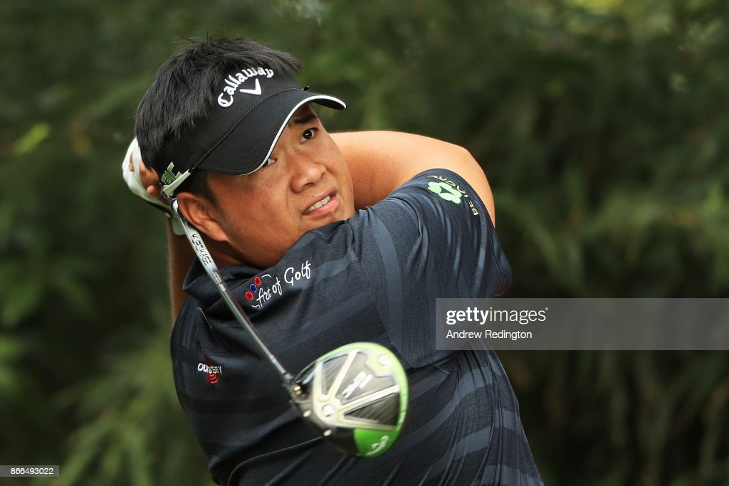 Kiradech Aphibarnrat of Thailand plays his shot from the ninth tee during the first round of the WGC - HSBC Champions at Sheshan International Golf Club on October 26, 2017 in Shanghai, China.