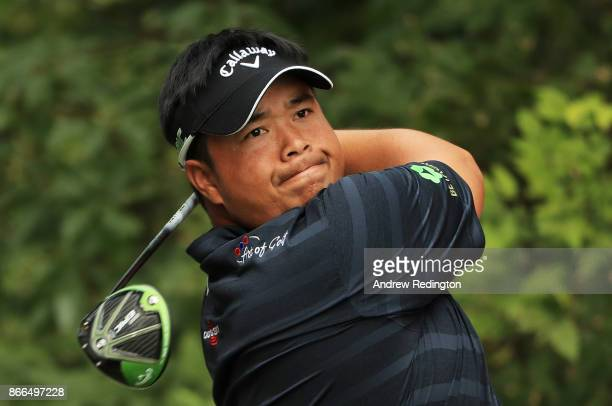 Kiradech Aphibarnrat of Thailand plays his shot from the ninth tee during the first round of the WGC HSBC Champions at Sheshan International Golf...