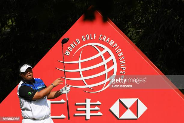 Kiradech Aphibarnrat of Thailand plays his shot from the ninth tee during the second round of the WGC HSBC Champions at Sheshan International Golf...
