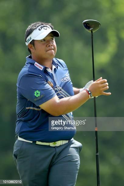 Kiradech Aphibarnrat of Thailand plays his shot from the sixth tee during World Golf ChampionshipsBridgestone Invitational Round Three at Firestone...