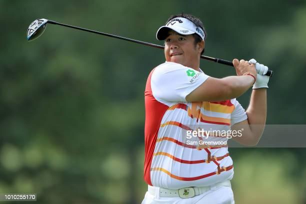 Kiradech Aphibarnrat of Thailand plays his shot from the third tee during World Golf ChampionshipsBridgestone Invitational Round Two at Firestone at...