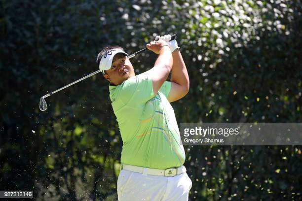 Kiradech Aphibarnrat of Thailand plays his shot from the third tee during the final round of World Golf ChampionshipsMexico Championship at Club De...