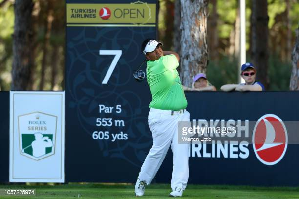 Kiradech Aphibarnrat of Thailand plays his shot off the 7th tee during Day Four of the Turkish Airlines Open at Regnum Carya Golf Spa Resort on...