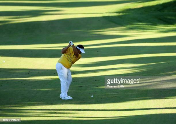 Kiradech Aphibarnrat of Thailand plays his shot on the 11th during Day Two of the Turkish Airlines Open at the Regnum Carya Golf Spa Resort on...
