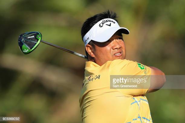 Kiradech Aphibarnrat of Thailand plays his tee shot on the seventh hole during the second round of the Honda Classic at PGA National Resort and Spa...
