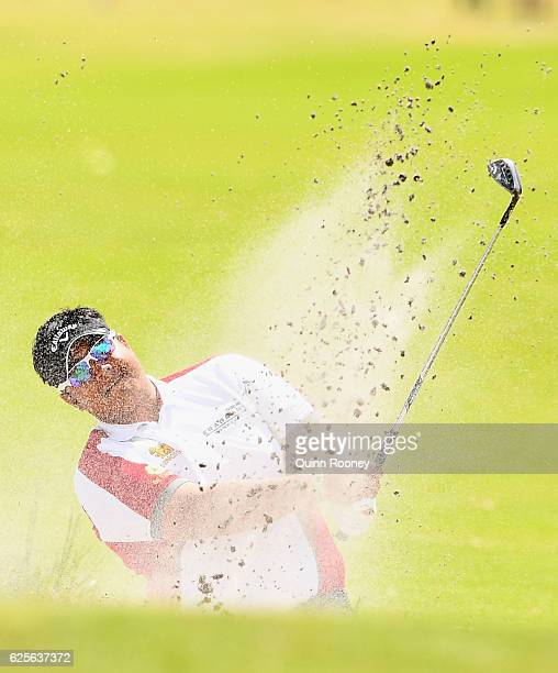 Kiradech Aphibarnrat of Thailand plays out of the bunker during day two of the World Cup of Golf at Kingston Heath Golf Club on November 25 2016 in...