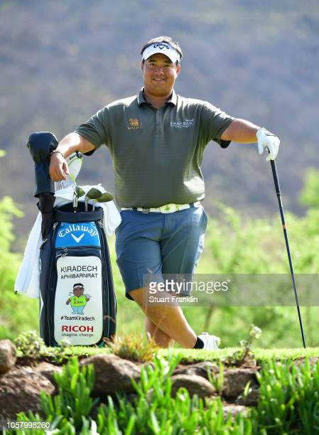 Kiradech Aphibarnrat of Thailand poses by his bag during the pro am prior to the start of the Nedbank Golf Challenge at Gary Player CC on November 6...