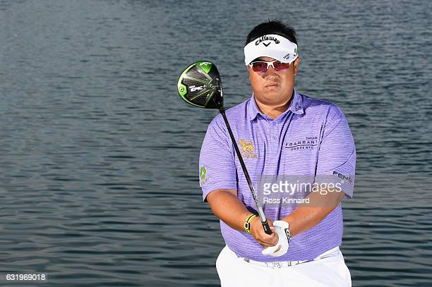 Kiradech Aphibarnrat of Thailand poses for a picture during the proam event prior to the Abu Dhabi HSBC Championship at Abu Dhabi Golf Club on...