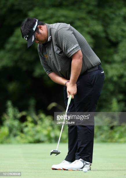 Kiradech Aphibarnrat of Thailand putts during a practice round prior to the 2018 PGA Championship at Bellerive Country Club on August 7 2018 in St...
