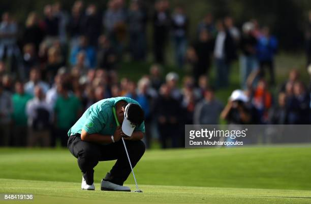 Kiradech Aphibarnrat of Thailand reacts on the 18th hole during Day Four of the KLM Open at The Dutch on September 17 2017 in Spijk Netherlands