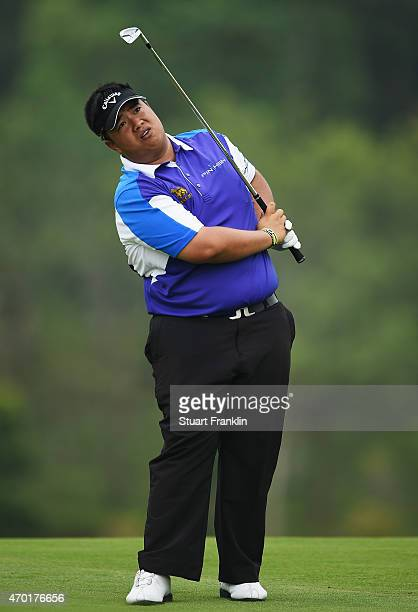 Kiradech Aphibarnrat of Thailand reacts to a shot during the third round of the Shenzhen International at Genzon Golf Club on April 18 2015 in...
