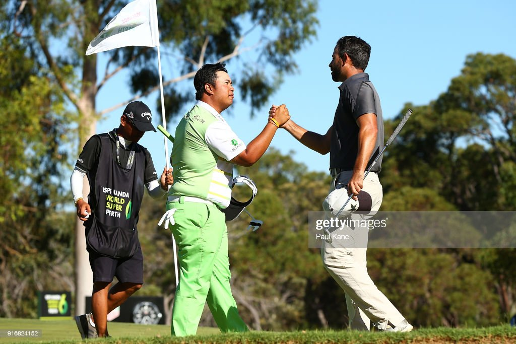 Kiradech Aphibarnrat of Thailand shakes hands with James Nitties of Australia after winning the final match during day four of the World Super 6 at Lake Karrinyup Country Club on February 11, 2018 in Perth, Australia.