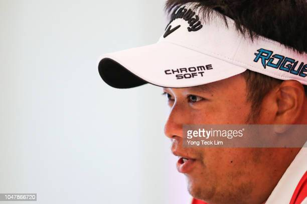 Kiradech Aphibarnrat of Thailand speaks during a press conference prior to the start of the CIMB Classic at TPC Kuala Lumpur on October 9 2018 in...