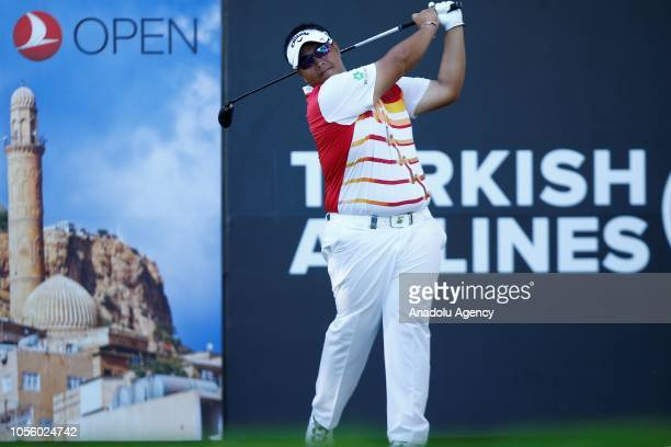 Kiradech Aphibarnrat of Thailand swings during the first day of Turkish Airlines Antalya Open 2018 at Regnum Carya Golf Spa Resort in Belek Tourism...