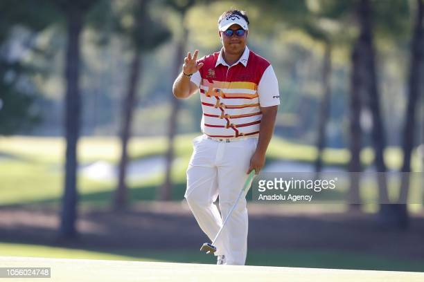 Kiradech Aphibarnrat of Thailand takes part in the first day of Turkish Airlines Antalya Open 2018 at Regnum Carya Golf Spa Resort in Belek Tourism...