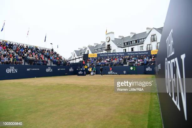 Kiradech Aphibarnrat of Thailand tees off at the 1st hole during round three of the Open Championship at Carnoustie Golf Club on July 21 2018 in...