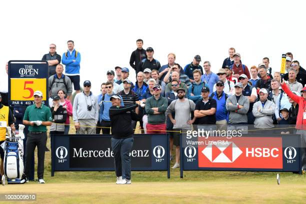 Kiradech Aphibarnrat of Thailand tees off at the 5th hole during round three of the Open Championship at Carnoustie Golf Club on July 21 2018 in...