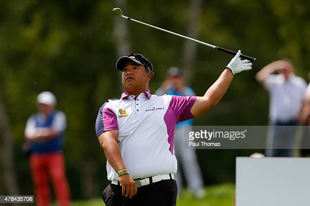 Kiradech Aphibarnrat of Thailand tees off during the BMW International Open day one at the Eichenried Golf Club on June 25 2015 in Munich Germany