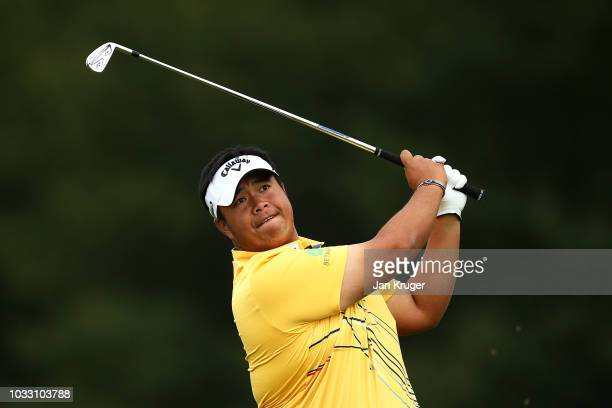 Kiradech Aphibarnrat of Thailand tees off on the 10th hole during day two of the KLM Open at The Dutch on September 14 2018 in Spijk Netherlands